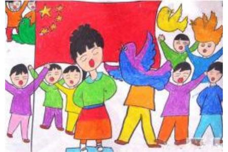 歌唱我们的祖国,国庆节儿童画作品大全