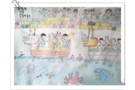 儿童彩色铅笔画-端午节划龙舟