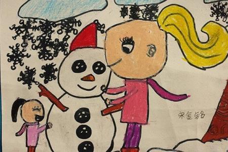 儿童水彩画作品-我和妈妈堆雪人