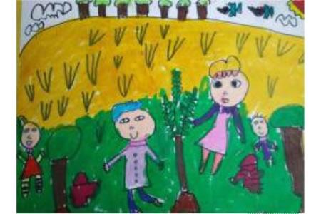 忙碌在春风里有关植树节的画展示