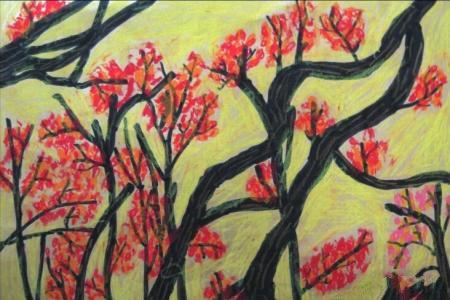秋天的茱萸树,有关九九重阳节的儿童画作品