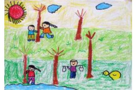 春天来了儿童画-我们在春天里植树