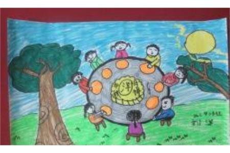 中秋节题材儿童画-月圆人更圆