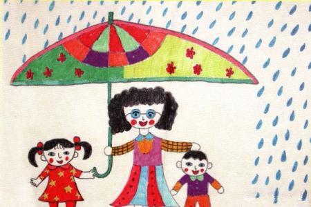 小学教师节儿童画-我的老师像妈妈