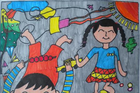 关于清明节的儿童画-清明去郊游