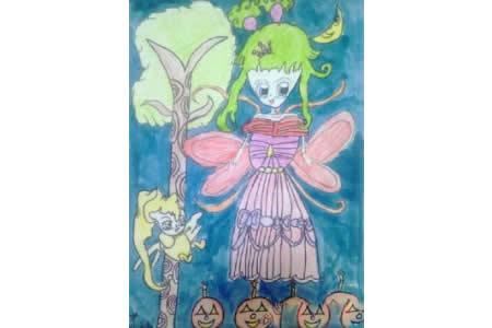 万圣节儿童画图片-万圣节夜里的小女孩