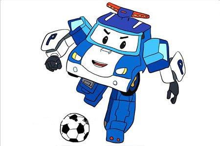 变形警车珀利踢足球