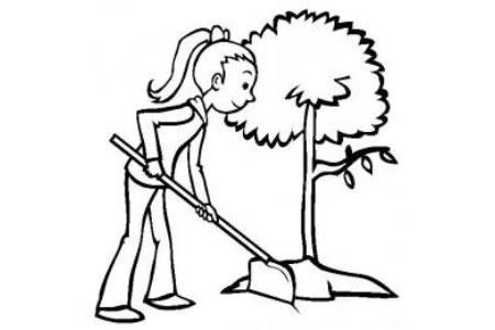 植树的小女孩简笔画图片