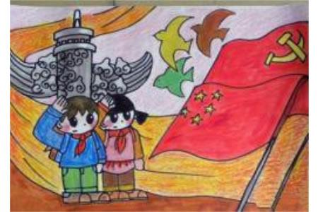 国庆节优秀儿童画作品欣赏-向国旗敬礼