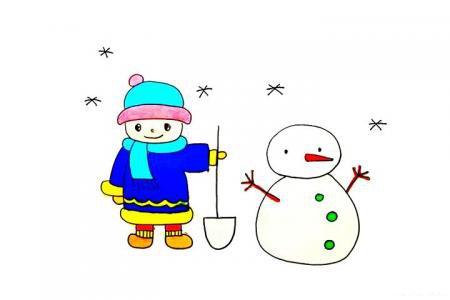 推雪人的小男孩怎么画