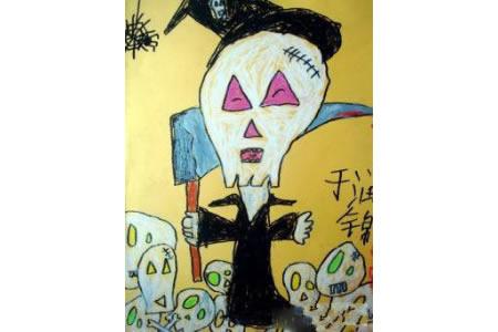 万圣节主题儿童画-万圣节骷髅