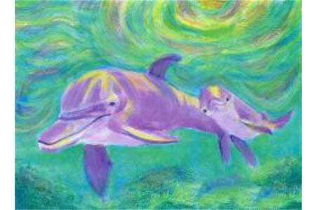 海豚母子俩海底世界油画作品分享