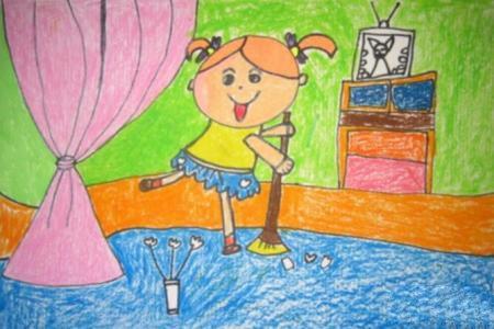 扫地真快乐有关五一的绘画图片欣赏