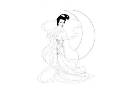 中秋节嫦娥的简笔画-嫦娥奔月