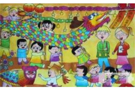 国庆节舞龙,欢庆国庆节儿童画作品分享