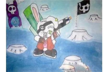 儿童画万圣节图片-小兔的万圣之夜