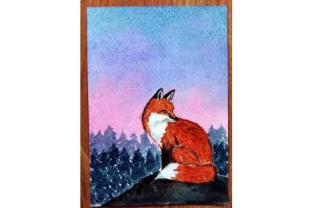 漂亮的红狐狸水彩动物画获奖作品分享