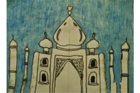 城堡的游玩国外水彩画作品欣赏