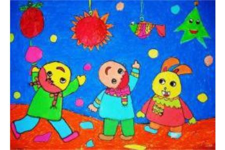2017关于闹元宵赏花灯的儿童画作品欣赏