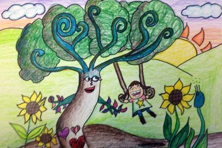 快乐的荡秋千小学生庆六一绘画图片欣赏