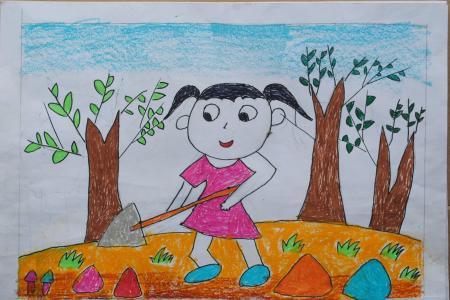 51劳动节儿童画-劳动带给我的快乐