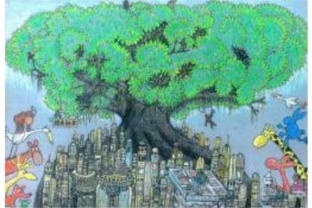 绿色社区关于植树节的图画展示