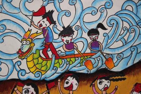 小朋友划龙船端午节赛龙舟画图片分享