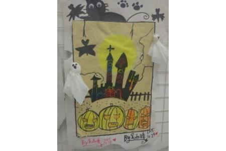 万圣节比赛简笔画优秀作品赏析-月光下的城堡