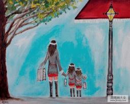 妈妈和我去购物三八妇女节油画作品分享