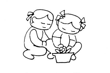 种盆栽的小女孩