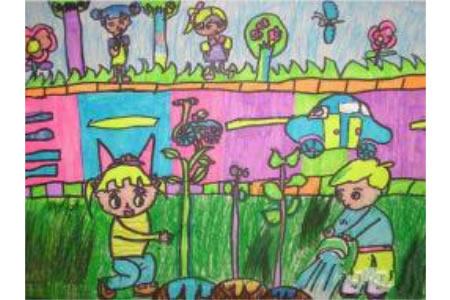 植树节三年级画作品之种树活动人人参与
