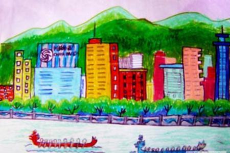 端午节赛龙舟儿童画-龙舟大比赛