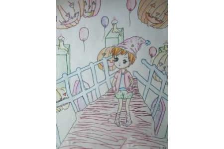 关于万圣节的儿童画-怪诞的万圣节之夜