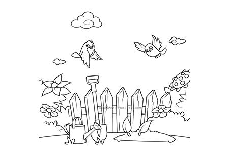 小鸟在花园里