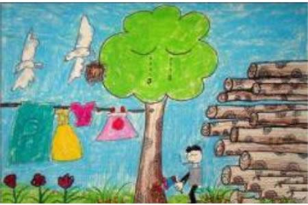 大树在哭泣儿童植树节主题绘画