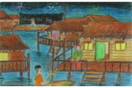 国外儿童画作品欣赏-马来新年