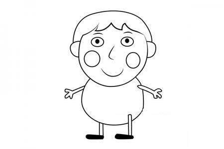 小猪佩奇之小男孩伯特伦简笔画