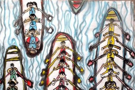 水彩画图片大全-一起赛龙舟