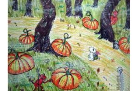 万圣节南瓜儿童画-南瓜灯晚会
