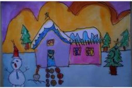 儿童画冬天的图画-冬天的景色
