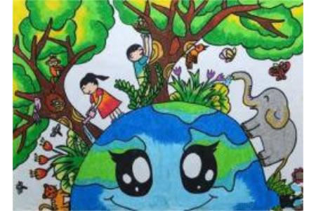 共建理想家园植树节创意画作品分享