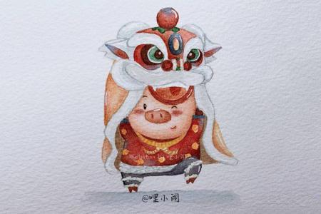 九只小猪贺新年