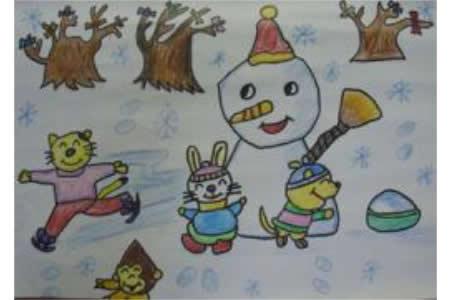 冬天美丽景色儿童画-小动物堆雪人