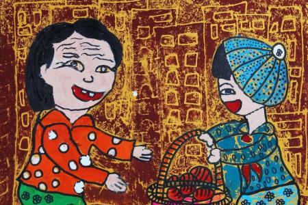有关重阳节的儿童画-给老人送水果
