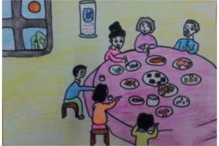 中秋节为主题儿童画-中秋夜宴