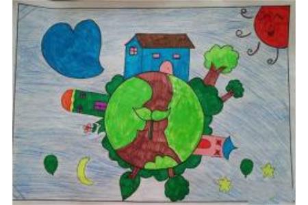 绿色地球小学生植树节绘画作品欣赏