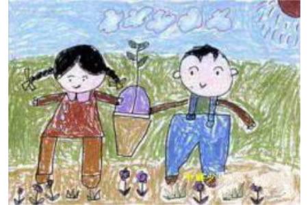 有关植树节儿童画-两人一同植树啦