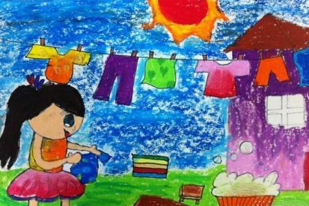 快乐晾衣记二年级五一节绘画图片分享