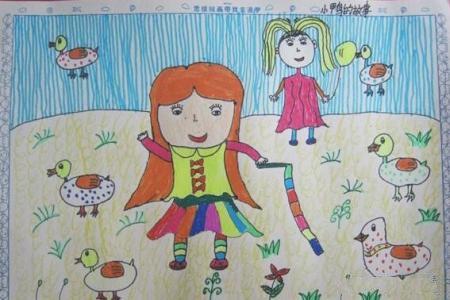 赶鸭子的小姑娘劳动节绘画作品分享