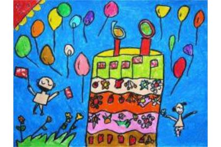 祝您生日快乐,我的祖国,有关于国庆节的儿童画